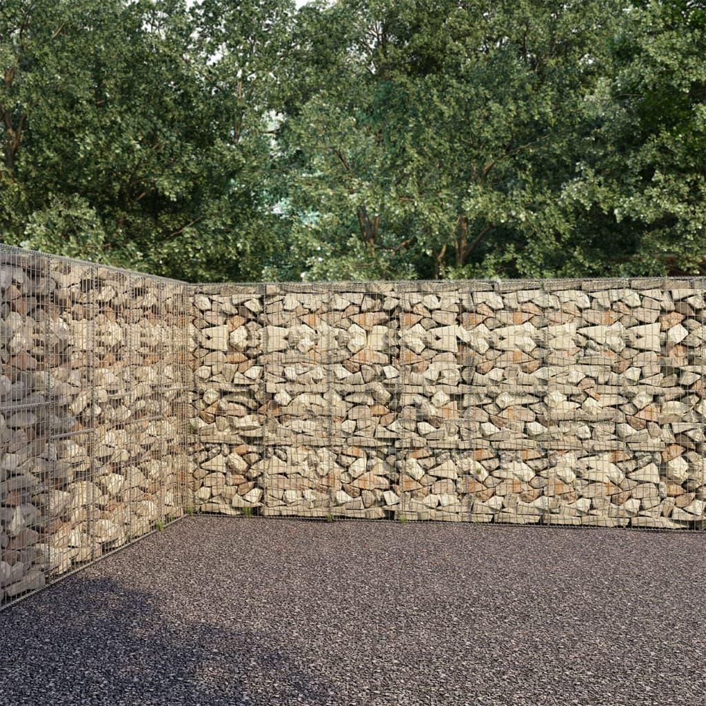 vidaXL Gabiónová stena s krytmi pozinkovaná oceľ 900x50x200 cm