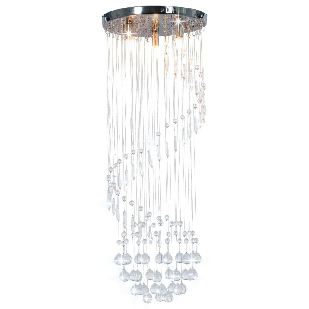 vidaXL Stropná lampa s krištálikmi, strieborná, špirála G9