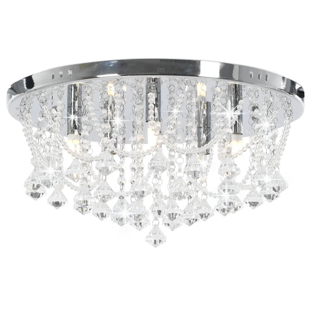 vidaXL Stropná lampa s kryštálovými korálkami strieborná okrúhla 4 x G9 žiarovky