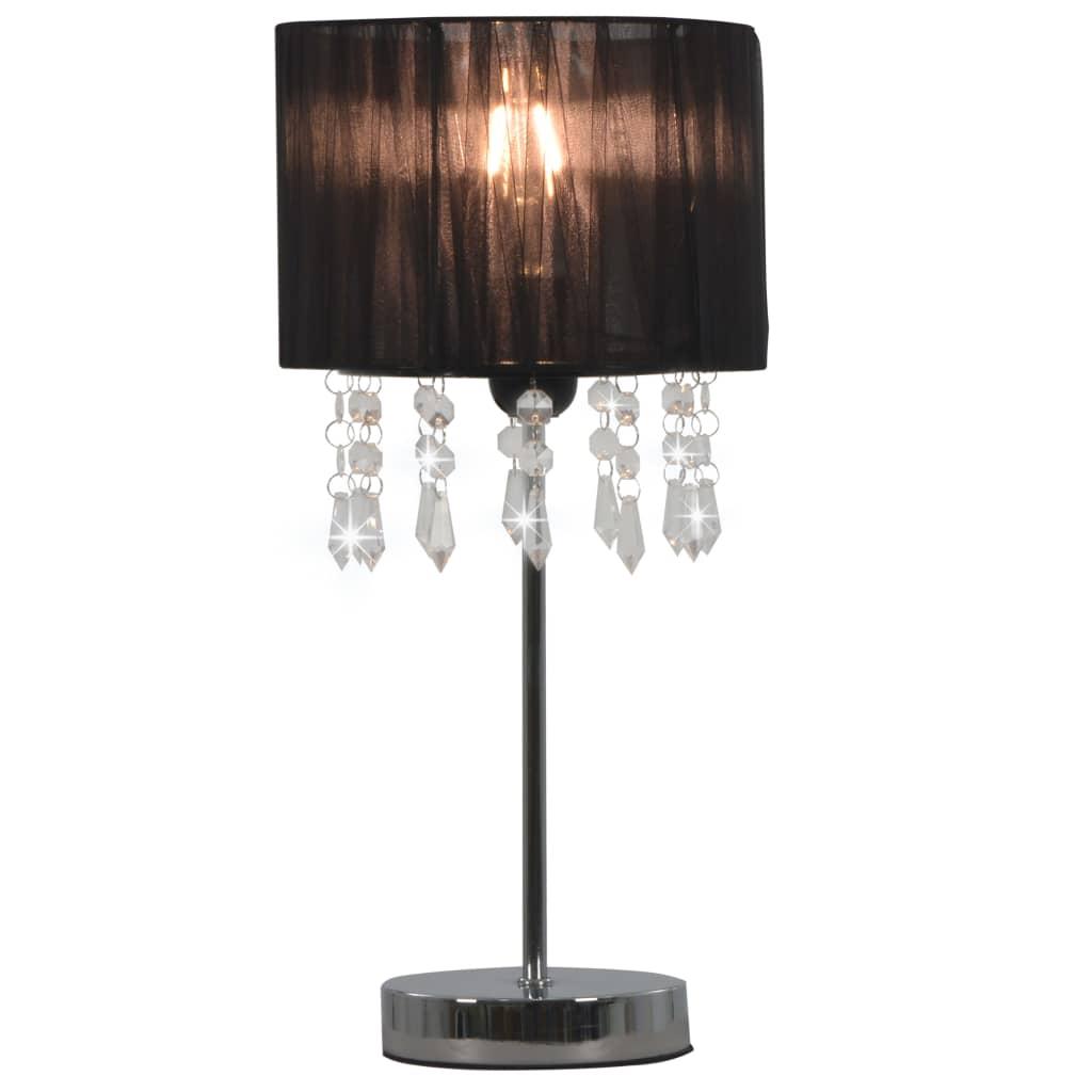 vidaXL Stolová lampa čierna okrúhla E27