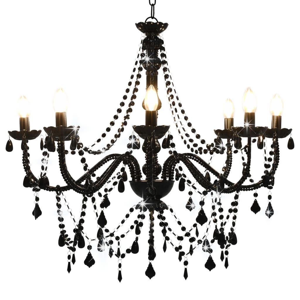vidaXL Luster s korálkami čierny 8 x E14 žiaroviek