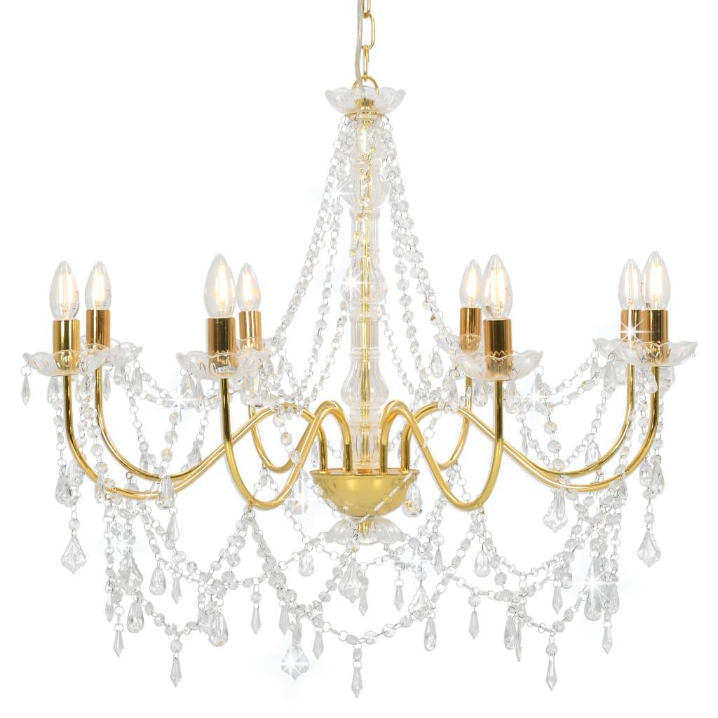 vidaXL Luster s korálkami zlatý 8 x E14 žiaroviek