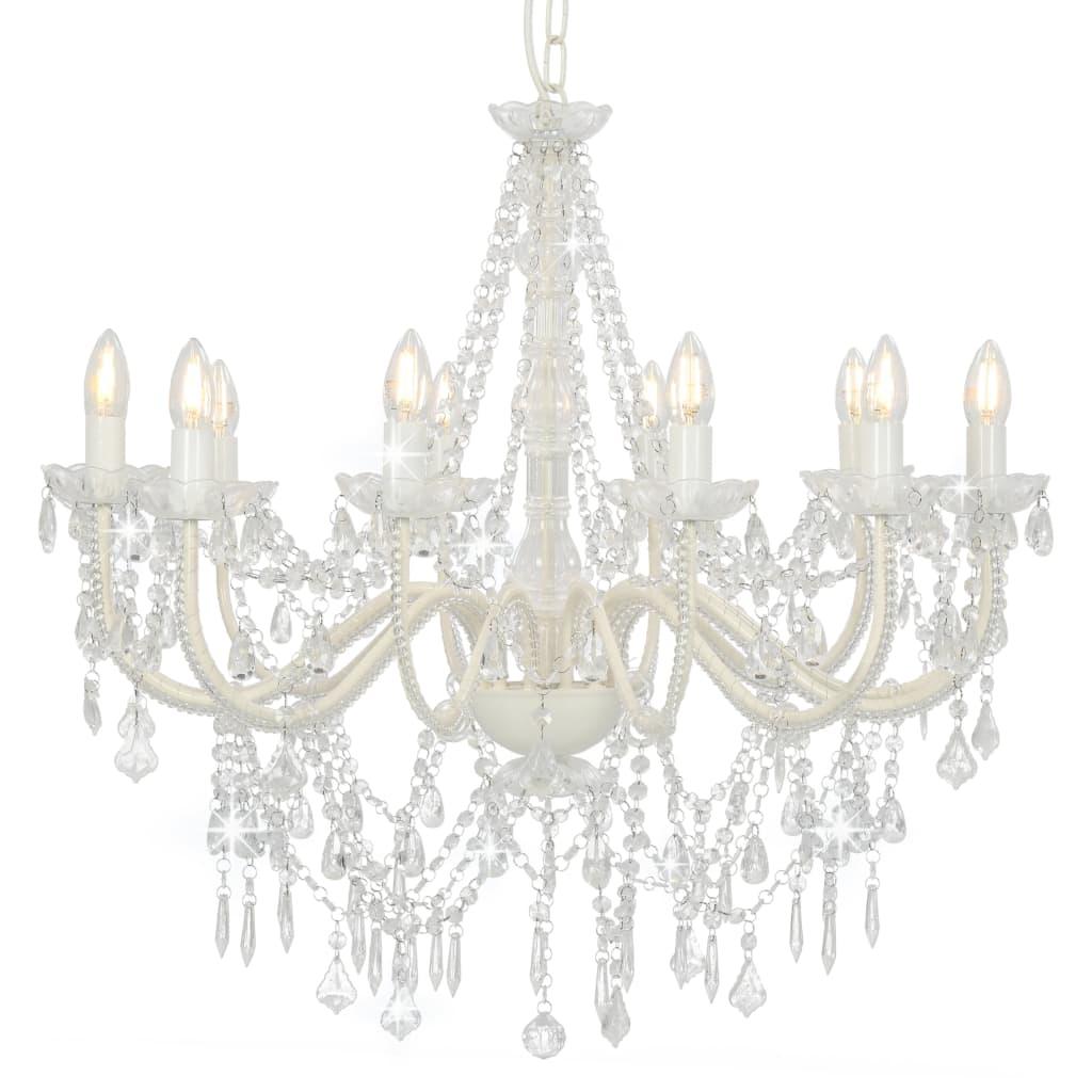 vidaXL Luster s korálkami biely 12 x E14 žiaroviek