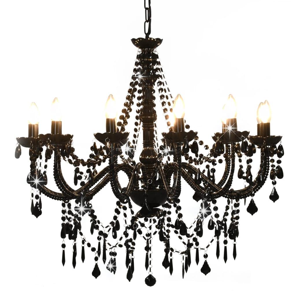 vidaXL Luster s korálkami čierny 12 x E14 žiaroviek