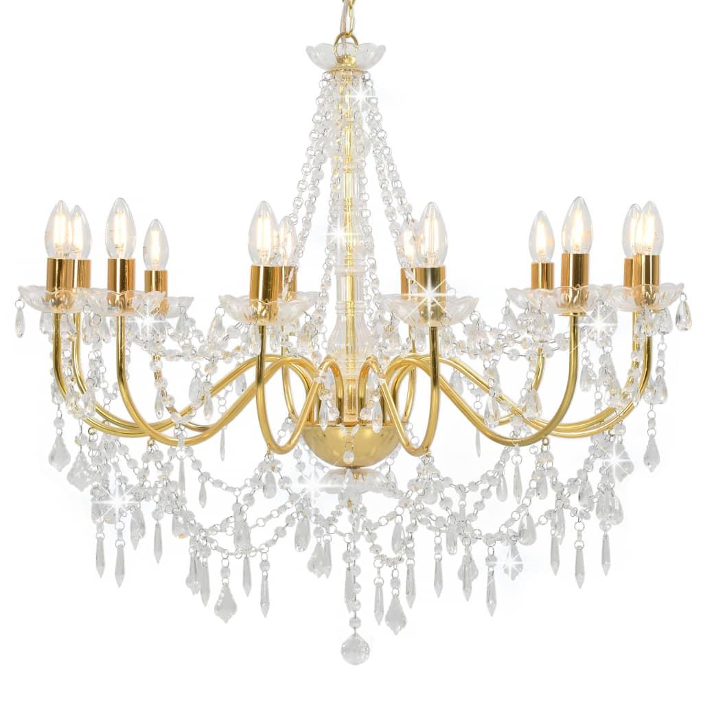 vidaXL Luster s korálkami zlatý 12 x E14 žiaroviek