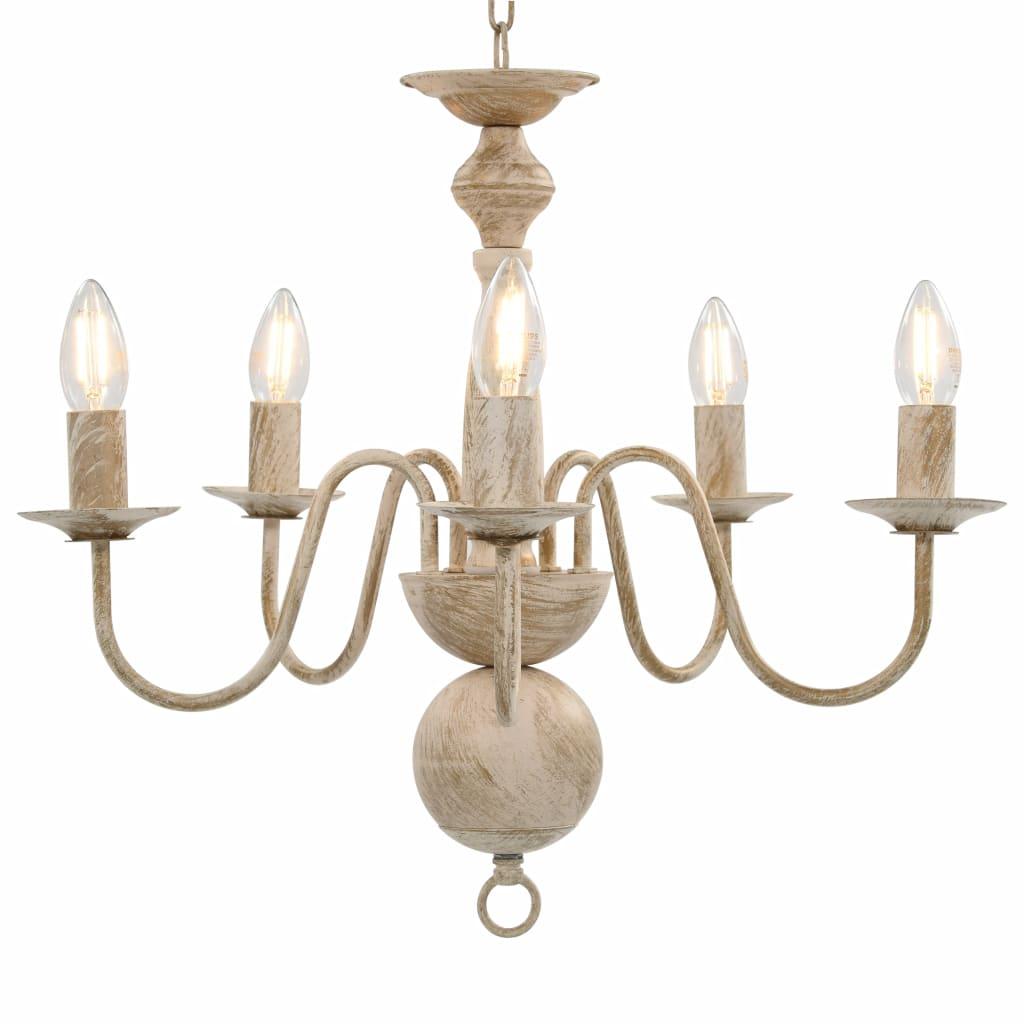 vidaXL Luster biely antický 5 x E14 žiarovky