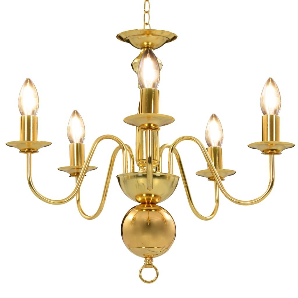 vidaXL Luster zlatý 5 x E14 žiarovky
