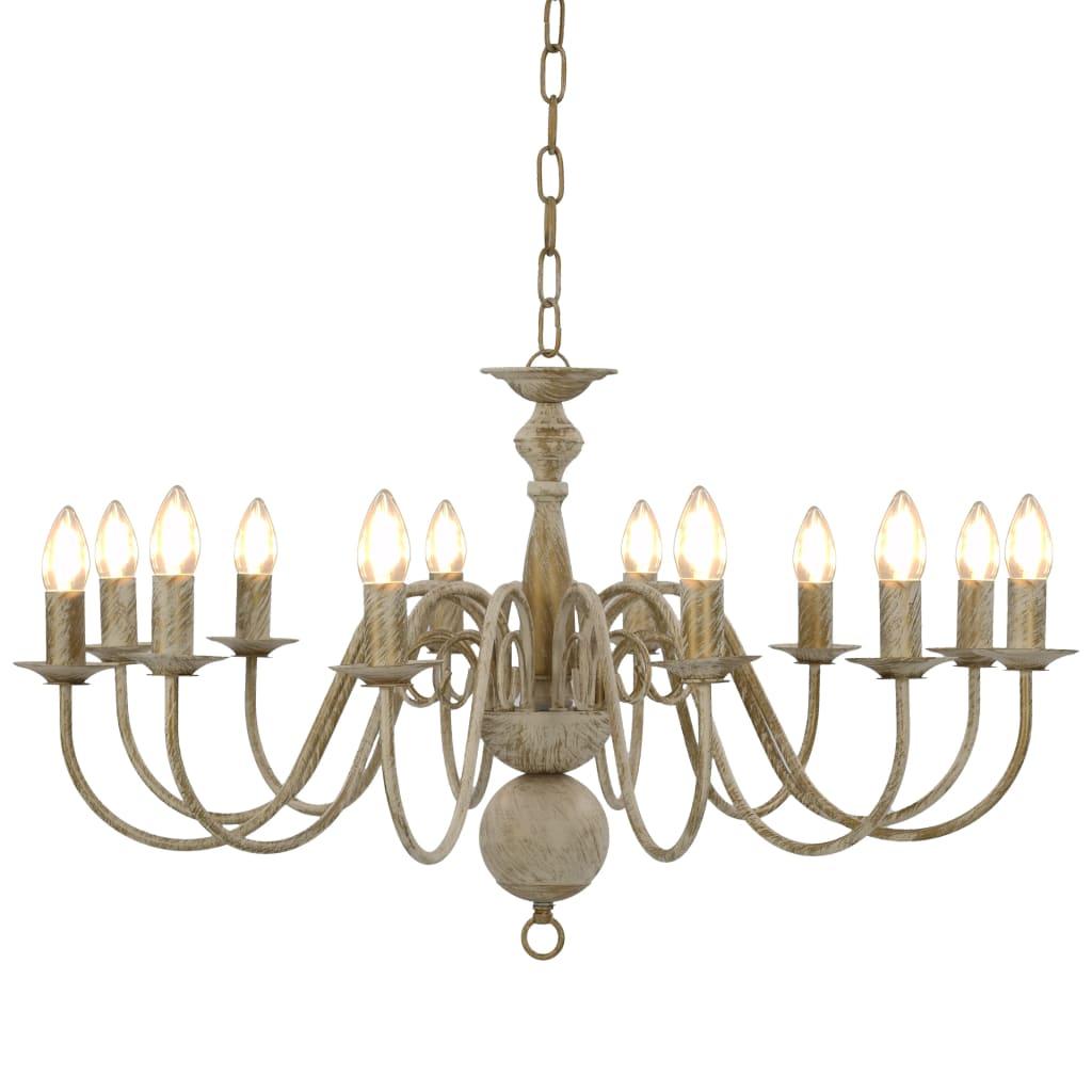vidaXL Luster, biely, starožitný 12 x žiarovky E14