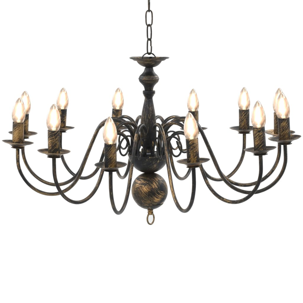 vidaXL Luster, čierny, starožitný 12 x žiarovky E14