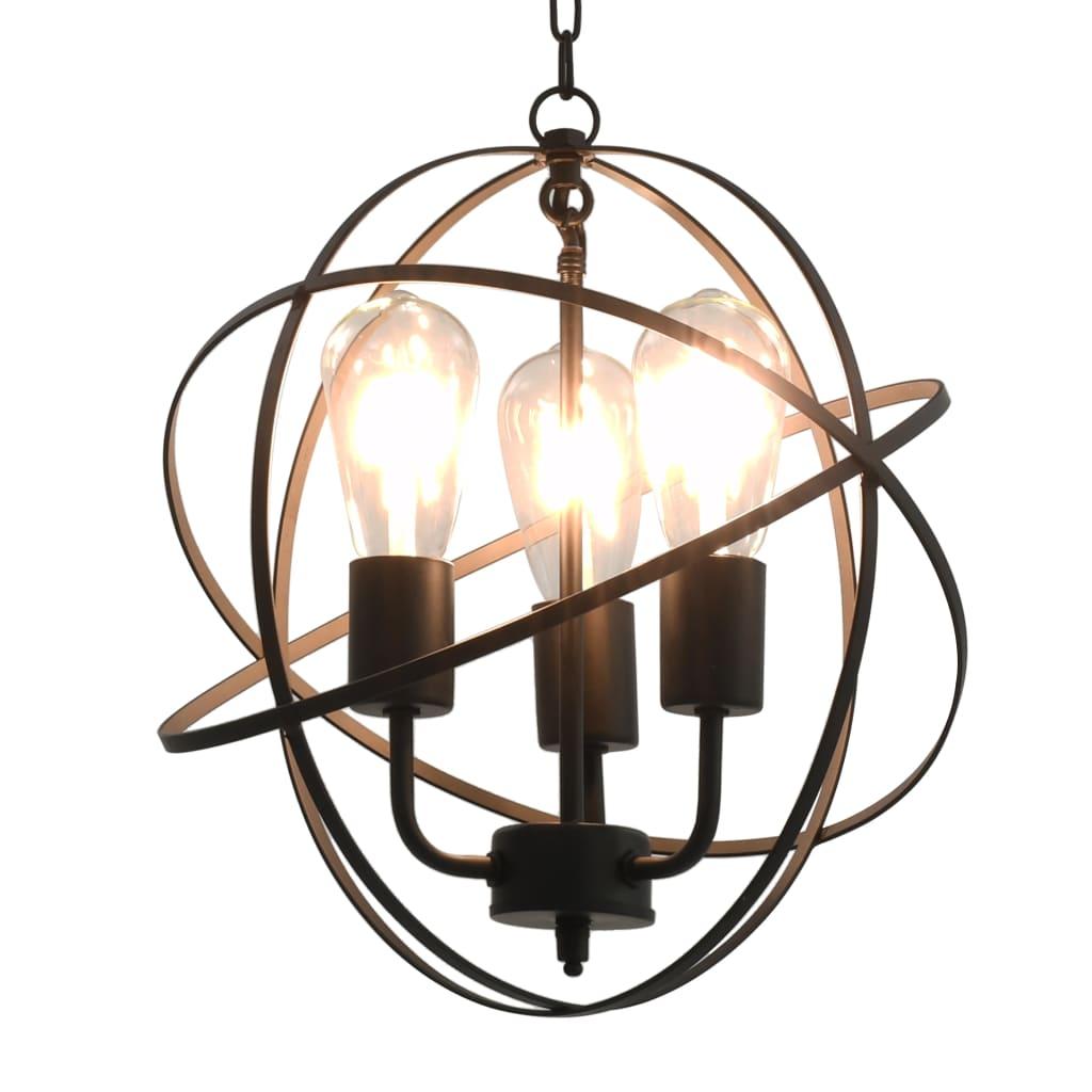 vidaXL Závesná lampa čierna okrúhla 3 x E27 žiarovky