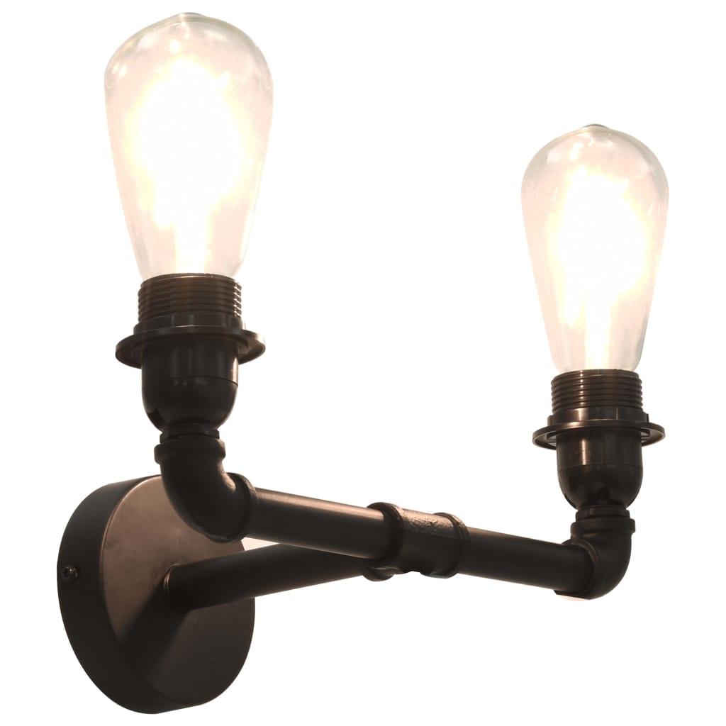vidaXL 2-smerná nástenná lampa čierna 2 x E27 žiarovky