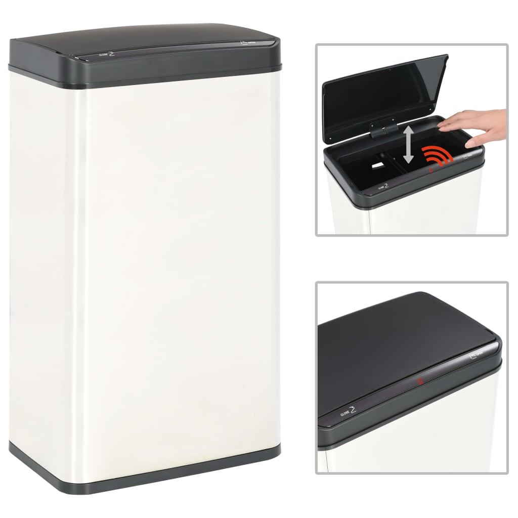 vidaXL Automatický odpadkový kôš so senzorom strieborno-čierny nehrdzavejúca oceľ 70 l