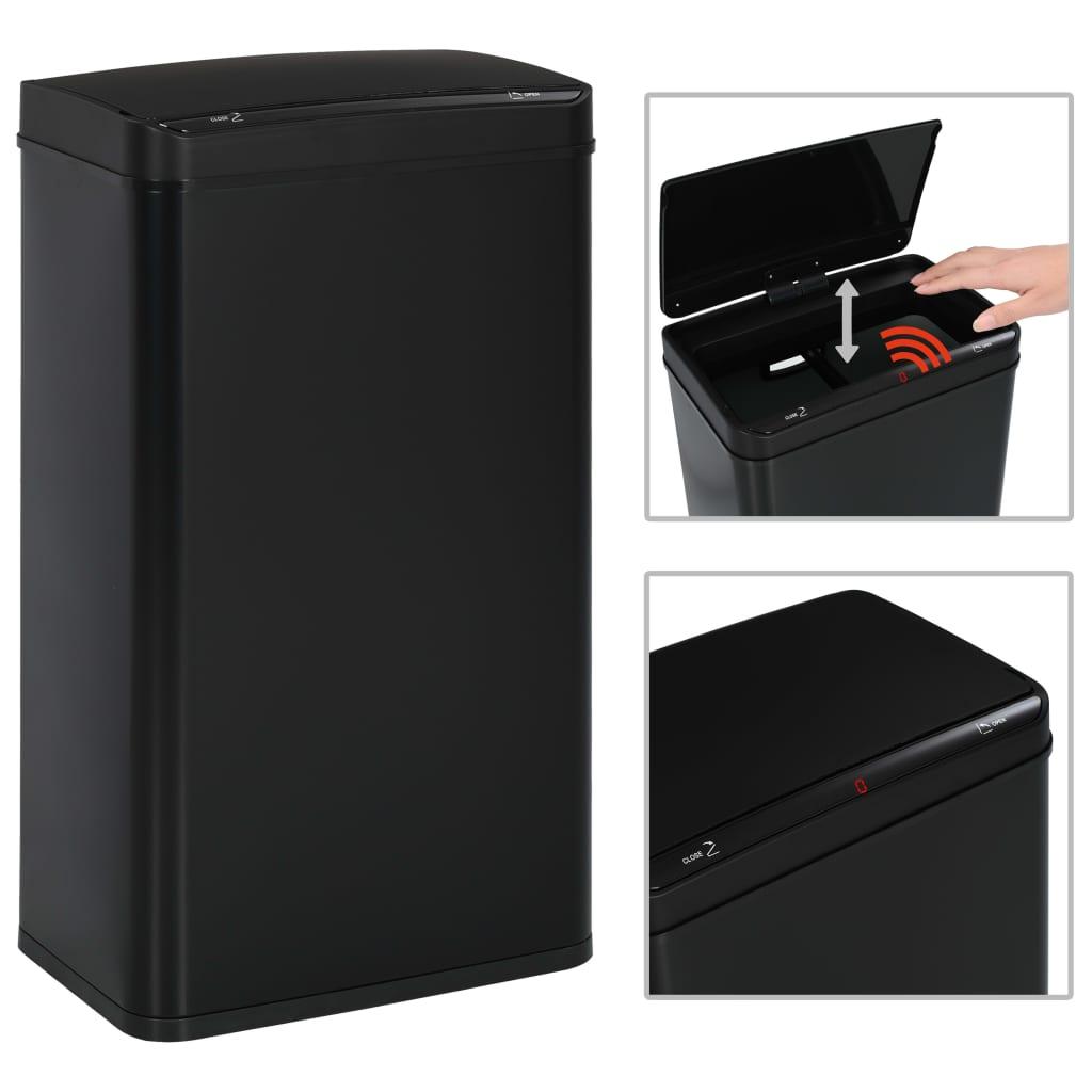 vidaXL Automatický odpadkový kôš so senzorom čierny oceľový 70 l