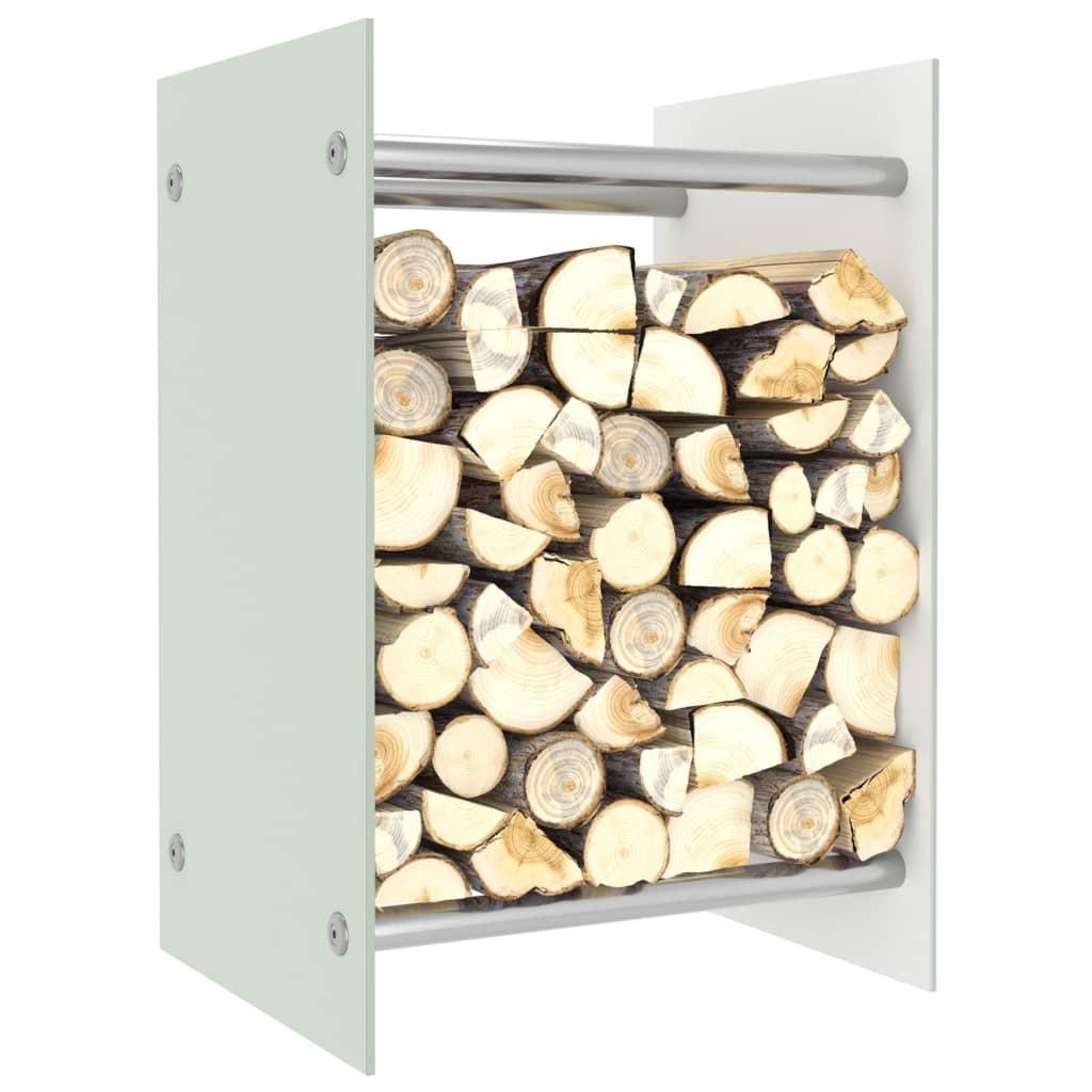 vidaXL Stojan na krbové drevo, biely 40x35x60 cm, sklo