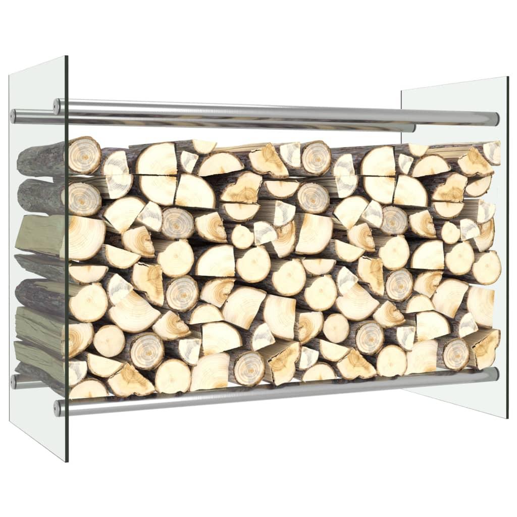 vidaXL Stojan na krbové drevo, priehľadný 80x35x60 cm, sklo