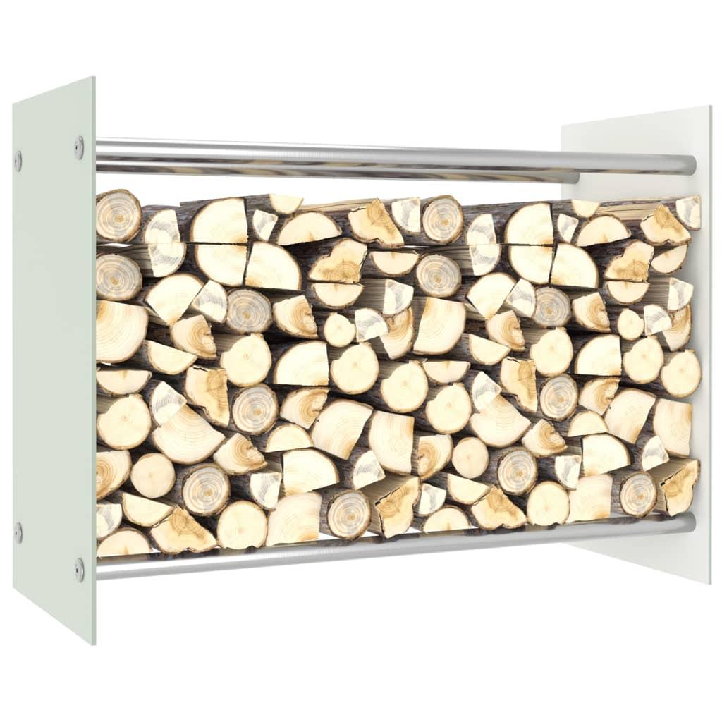vidaXL Stojan na krbové drevo, biely 80x35x60 cm, sklo