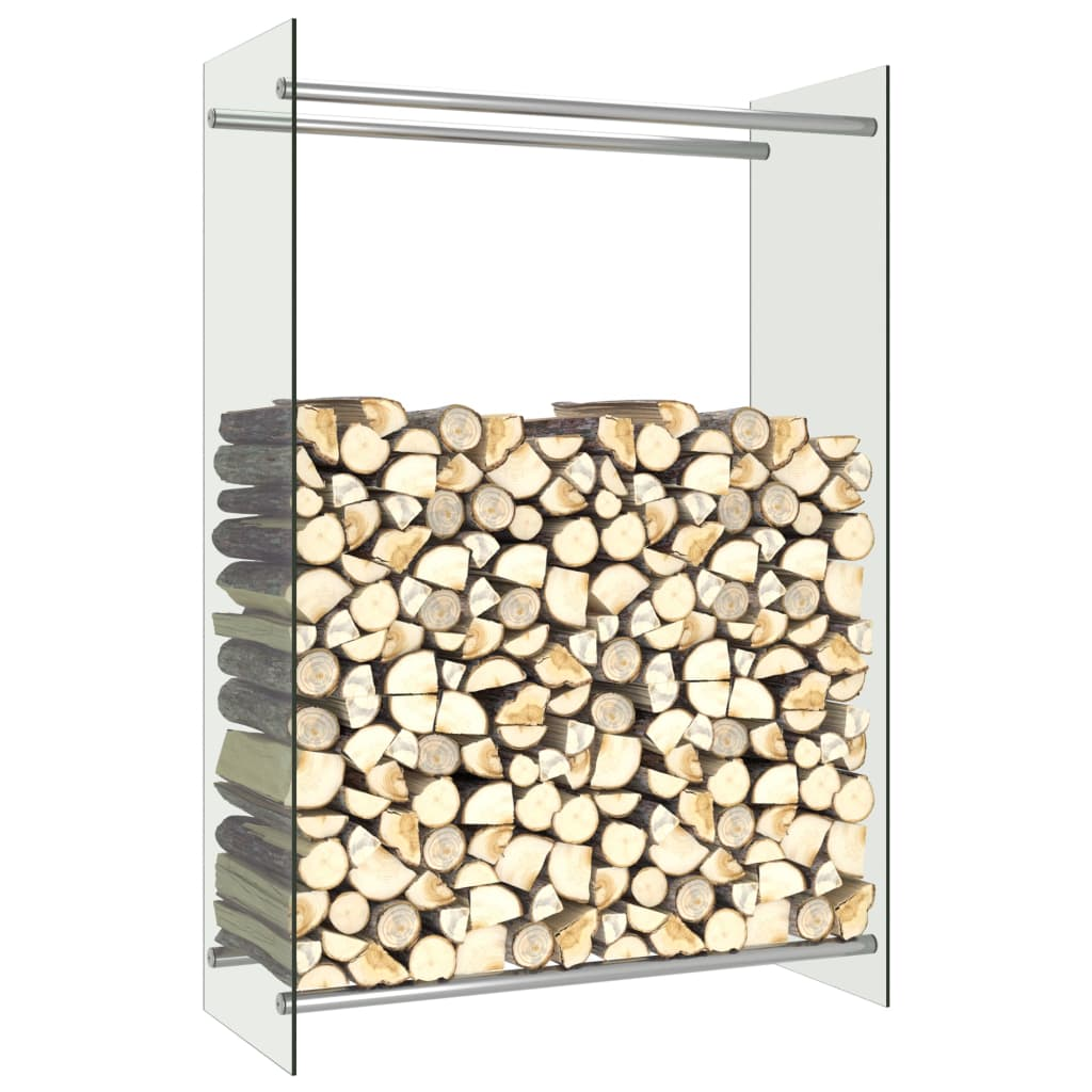 vidaXL Stojan na krbové drevo, priehľadný 80x35x120 cm, sklo