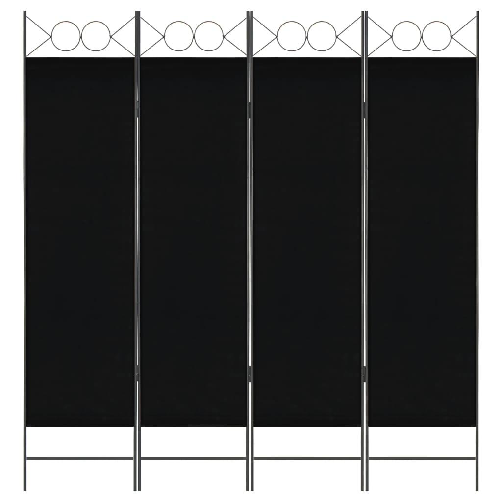 vidaXL 4-panelový paraván čierny 160x180 cm