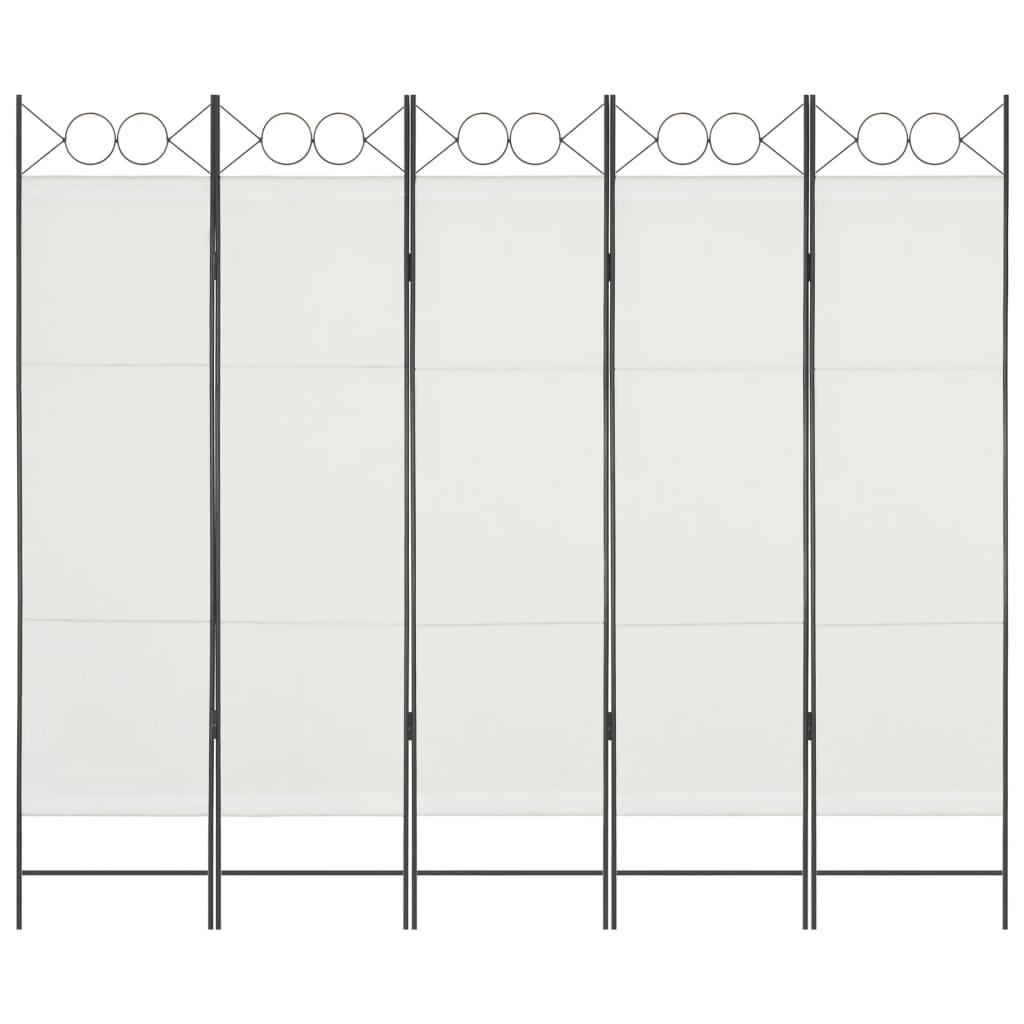 vidaXL 5-panelový paraván biely 200x180 cm