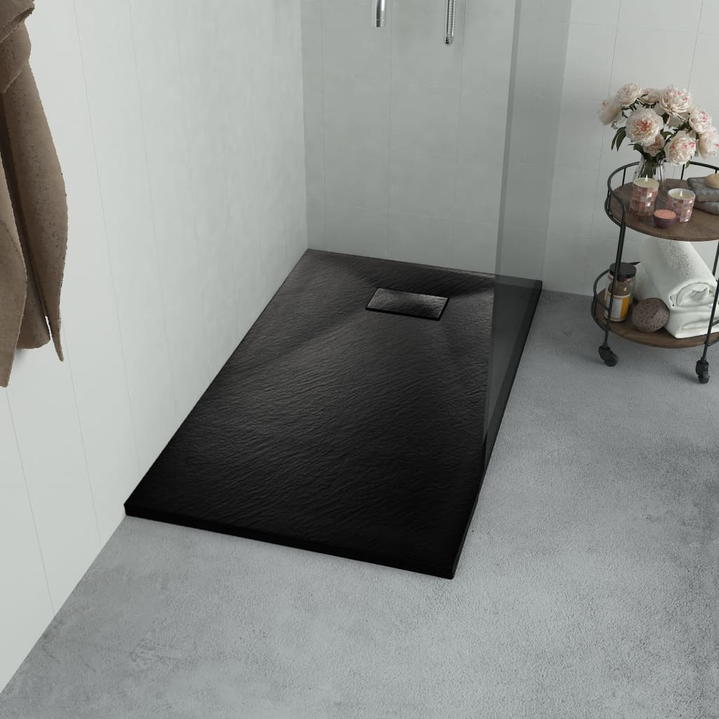 vidaXL Sprchová vanička, SMC, čierna 100x70 cm