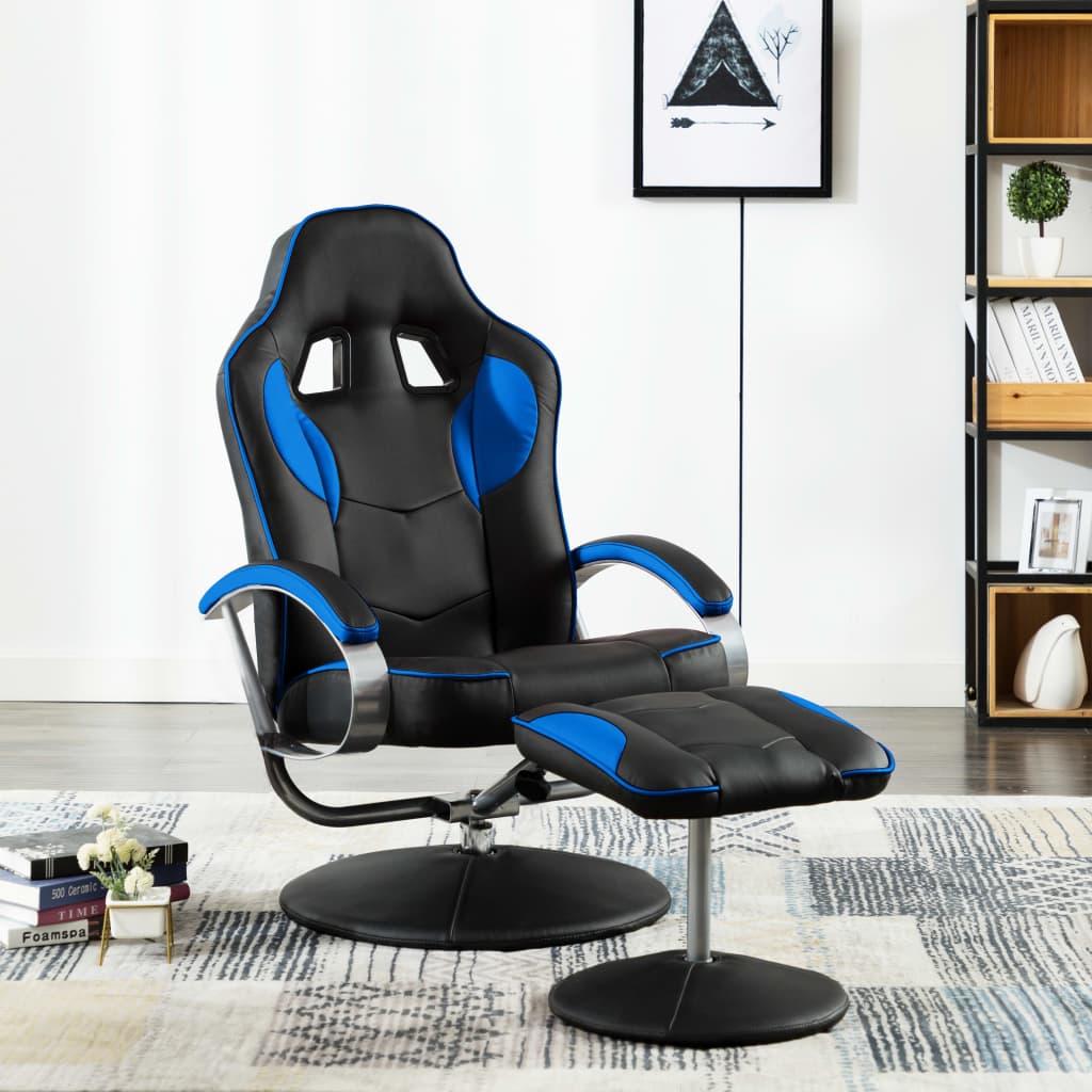 vidaXL Skladacia herná stolička s podnožkou modrá umelá koža