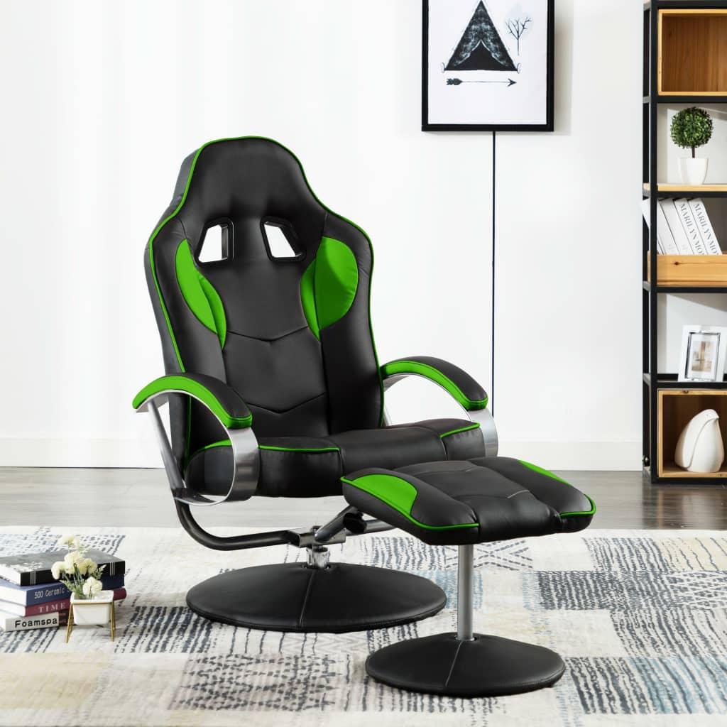 vidaXL Skladacia herná stolička s podnožkou zelená umelá koža
