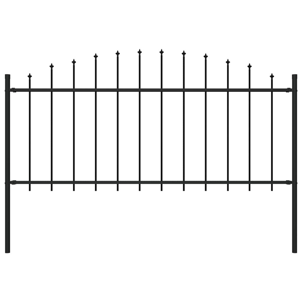 vidaXL Záhradný plot so špicatými koncami (0,5-0,75)x1,7 m čierny oceľ