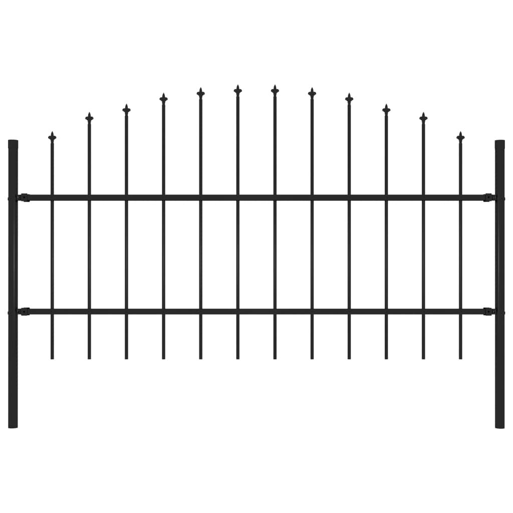 vidaXL Záhradný plot so špicatými koncami (0,75-1)x1,7 m čierny oceľ