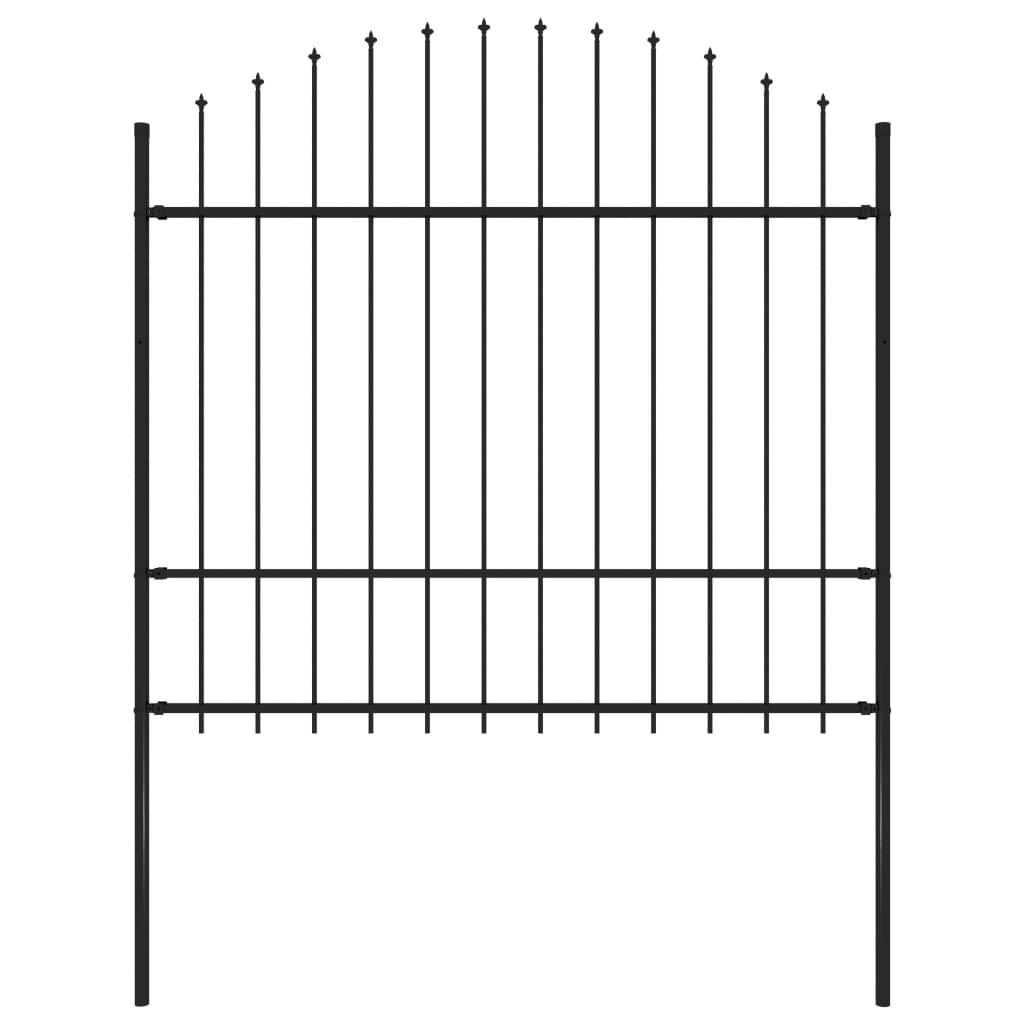 vidaXL Záhradný plot so špicatými koncami (1,5-1,75)x1,7 m čierny oceľ
