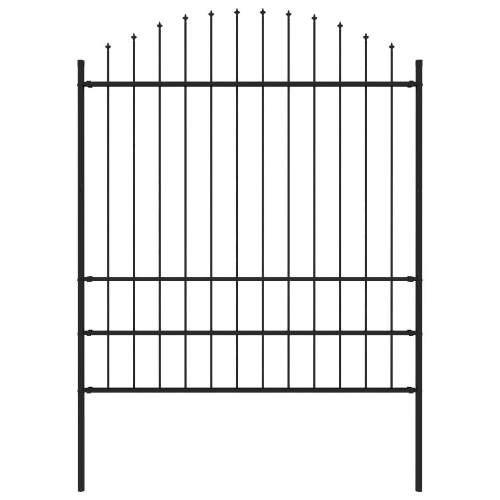 vidaXL Záhradný plot so špicatými koncami (1,75-2)x1,7 m čierny oceľ