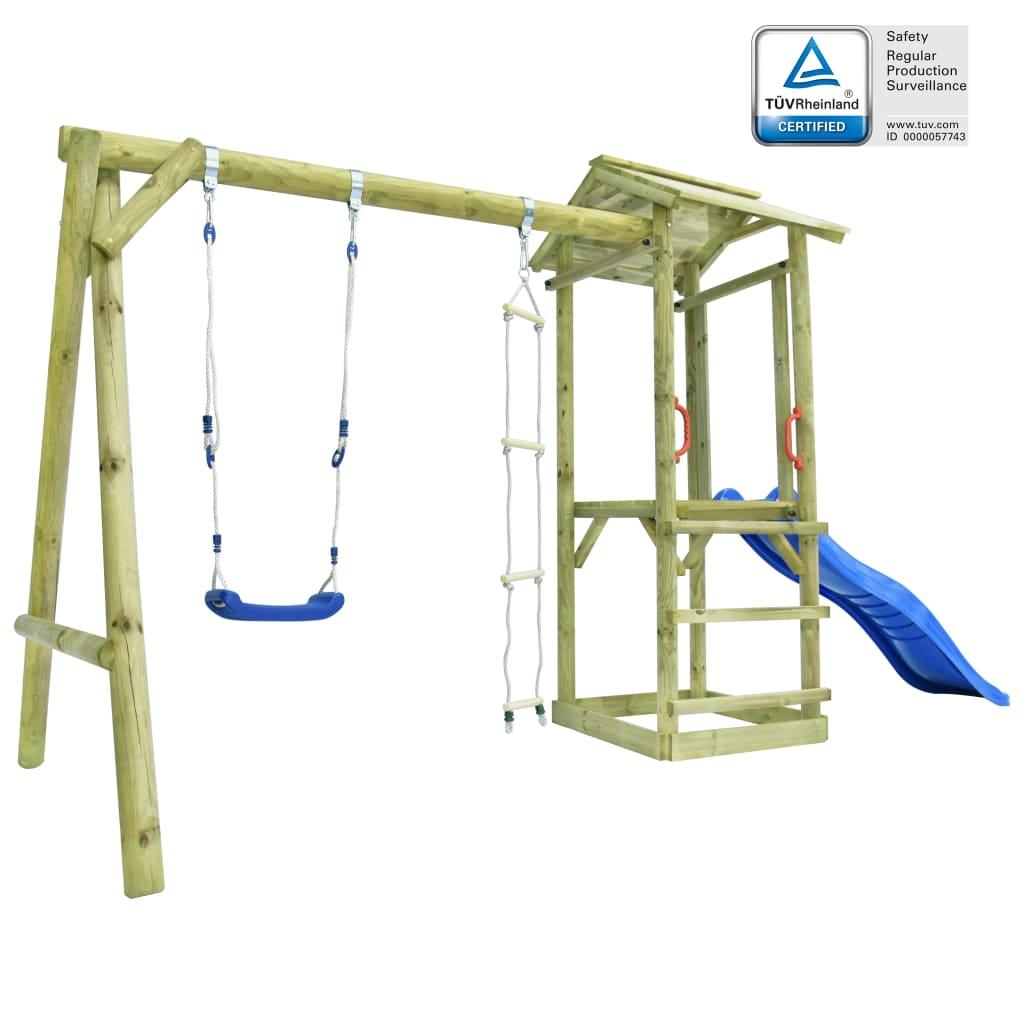 vidaXL Ihrisko+rebrík, šmýkačka a hojdačka 400x150x220 cm, FSC drevo