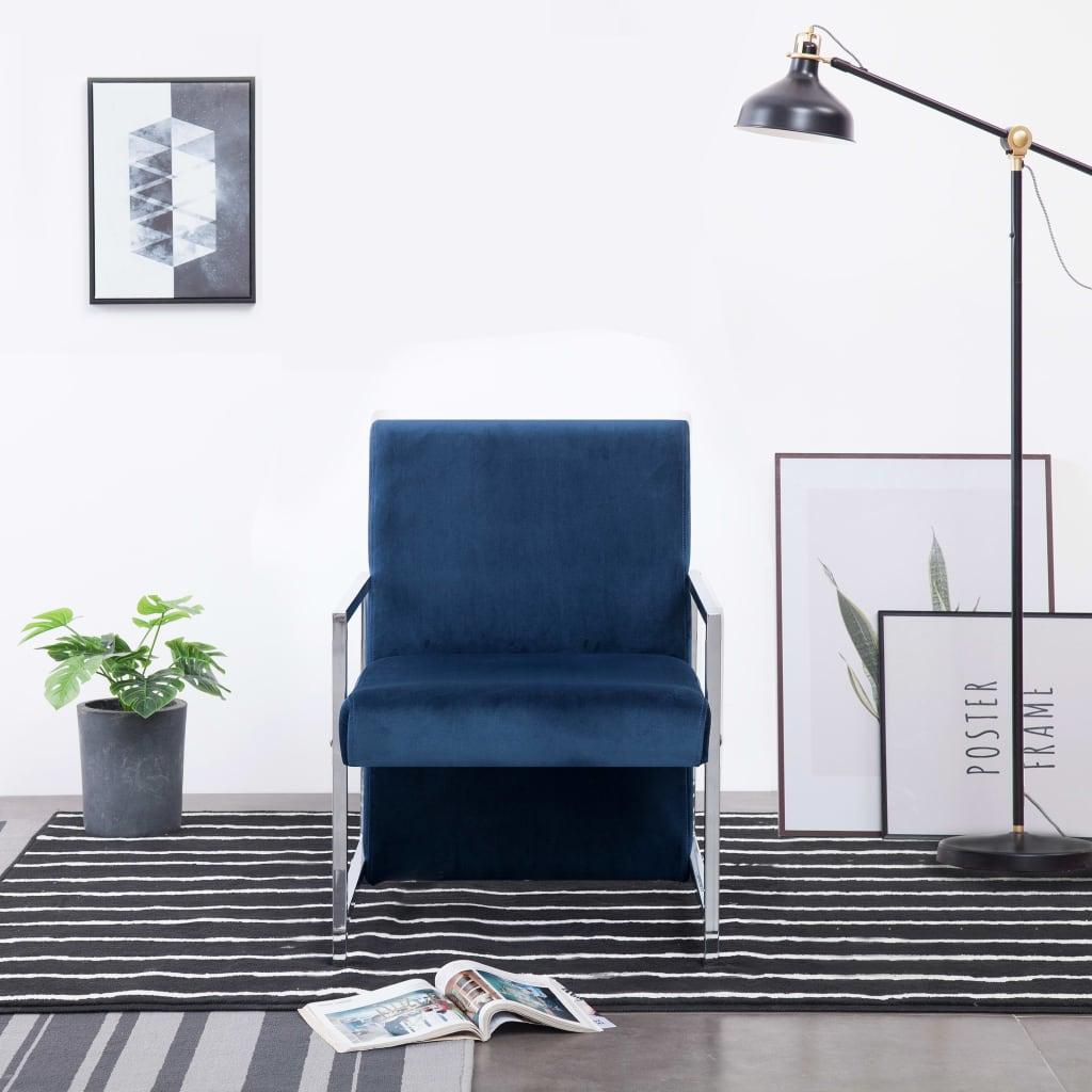 vidaXL Kreslo s chrómovými nohami modré zamatové