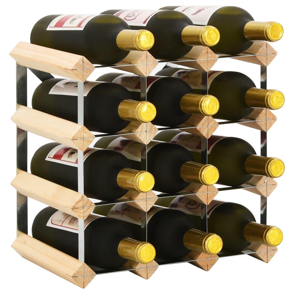 vidaXL Stojan na víno na 12 fliaš masívne borovicové drevo