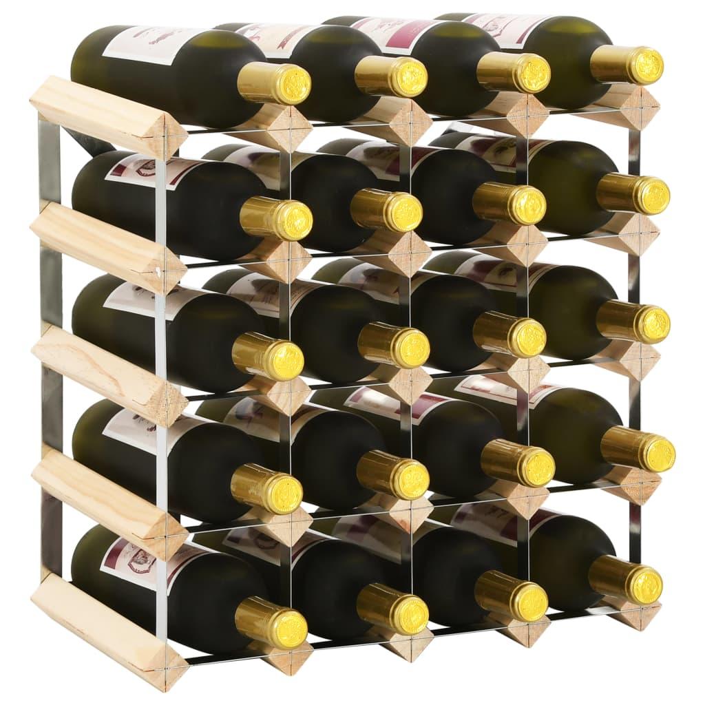 vidaXL Stojan na víno na 20 fliaš masívne borovicové drevo