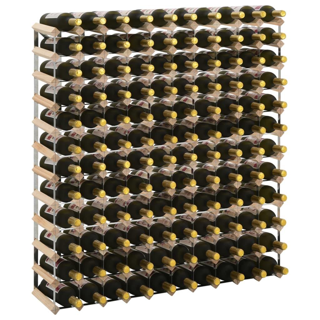 vidaXL Stojan na víno na 120 fliaš masívne borovicové drevo