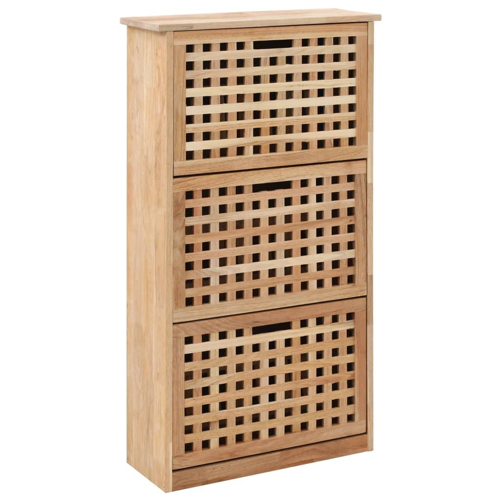 vidaXL Botník z orechového dreva 55x20x104 cm