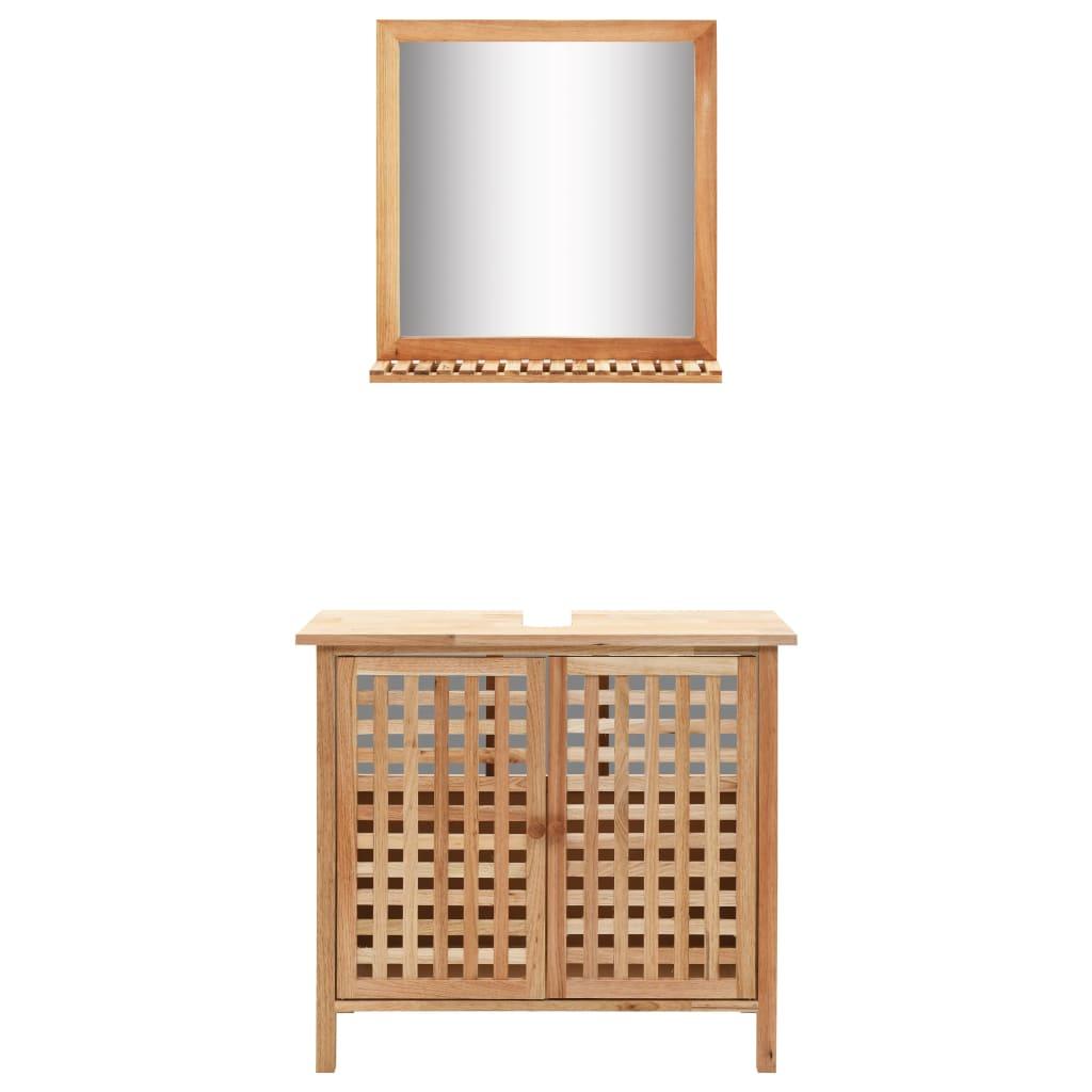 vidaXL Kúpeľňová skrinka so zrkadlom masívne orechové drevo
