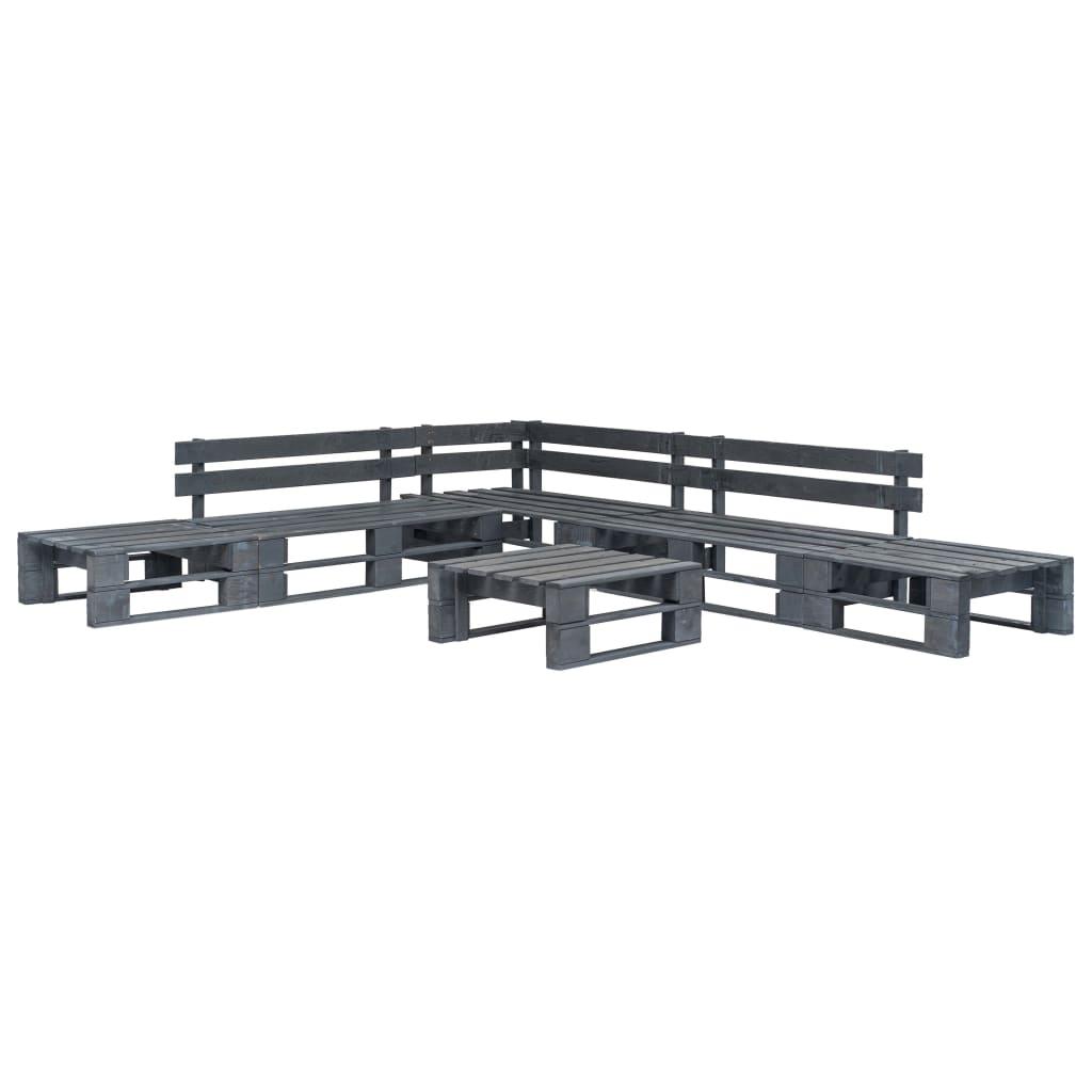 vidaXL 6-dielna záhradná paletová sedacia súprava FSC drevo sivá