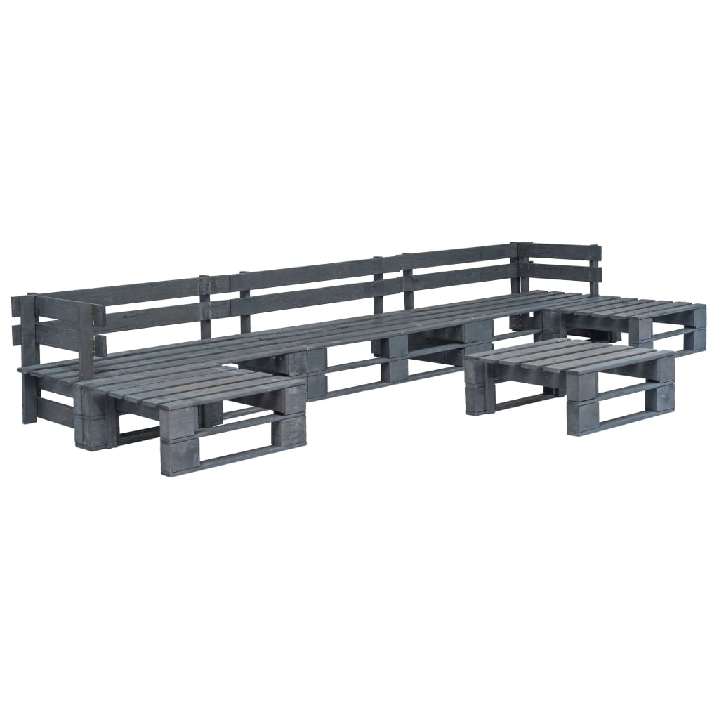 vidaXL 6-dielna záhradná sedacia súprava, palety, FSC drevo, sivá