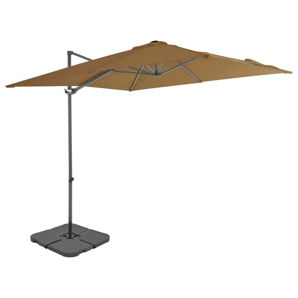 vidaXL Vonkajší slnečník s prenosnou základňou sivohnedý