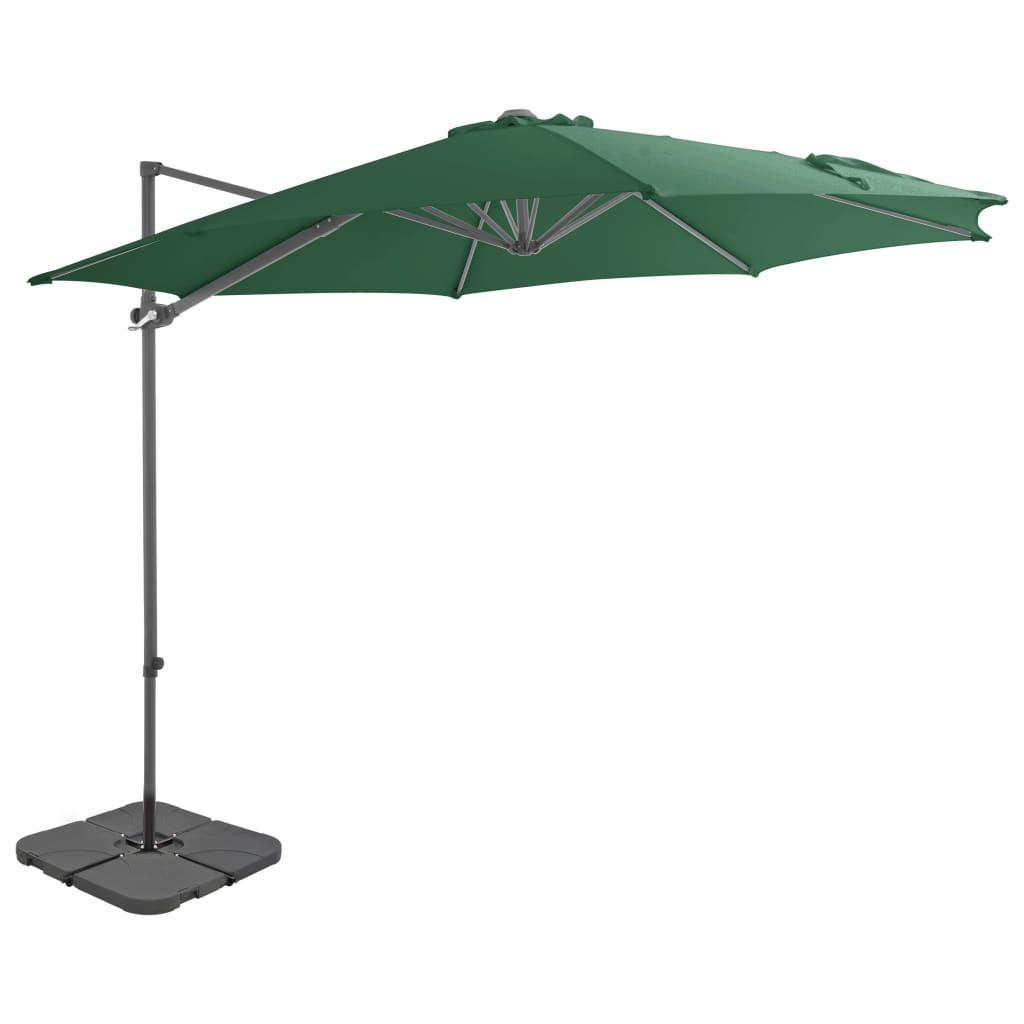 vidaXL Vonkajší slnečník s prenosnou základňou zelený