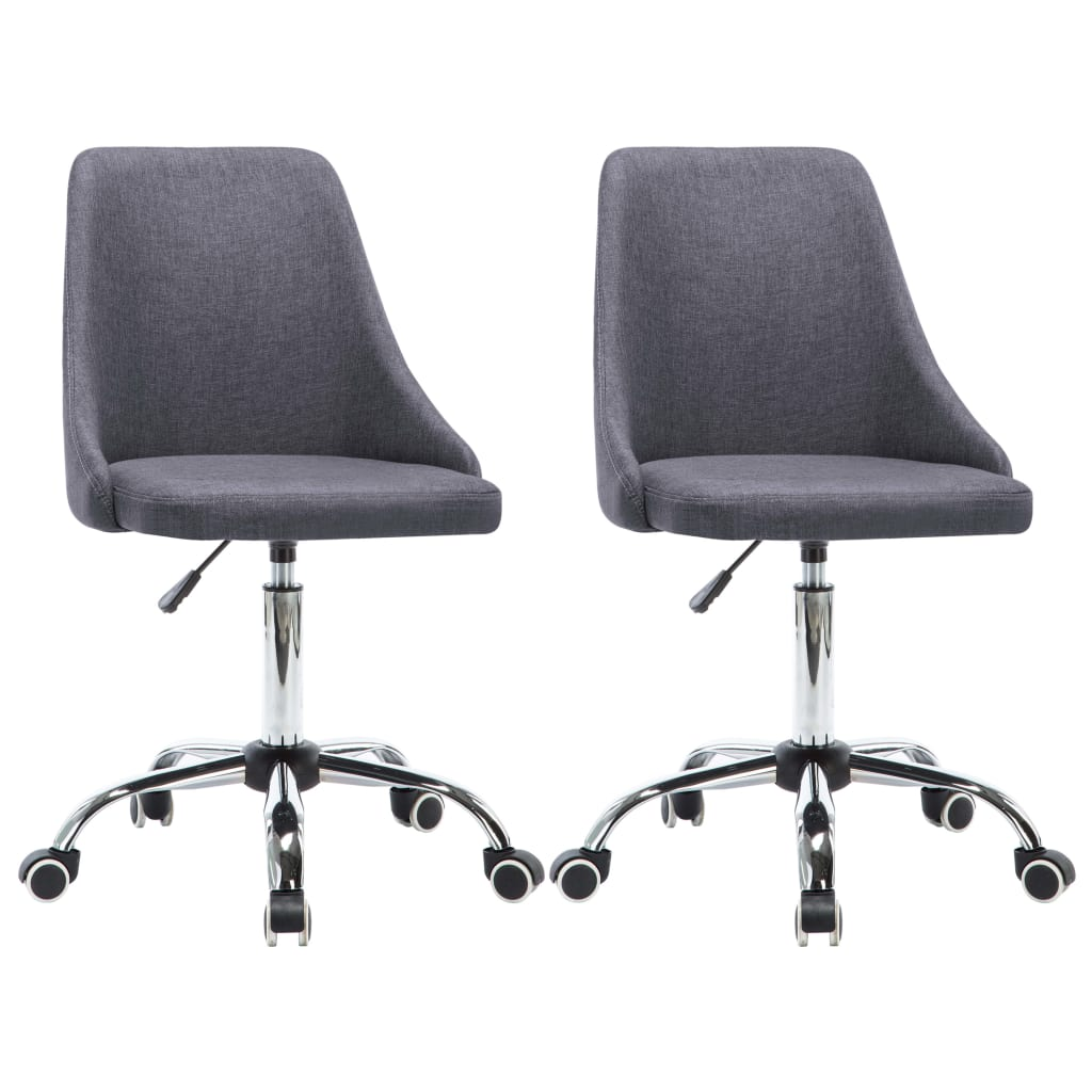 vidaXL Kancelárske stoličky na kolieskach 2 ks látkové tmavosivé