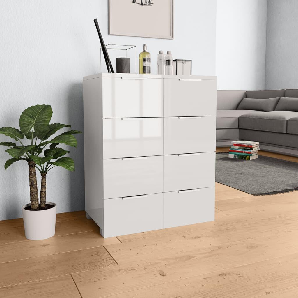 vidaXL Komoda, vysoký lesk, biela 60x35x76 cm, drevotrieska