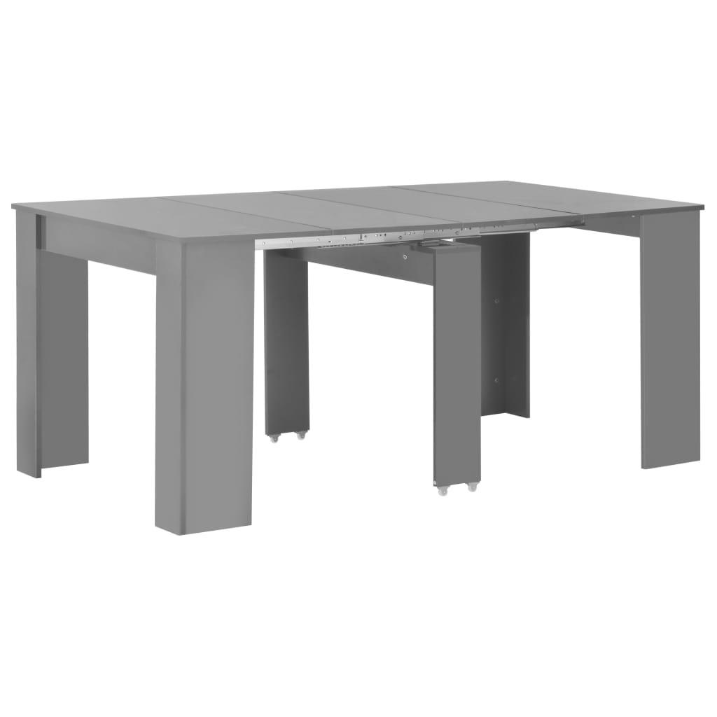 vidaXL Rozťahovací jedálenský stôl lesklý sivý 175x90x75 cm
