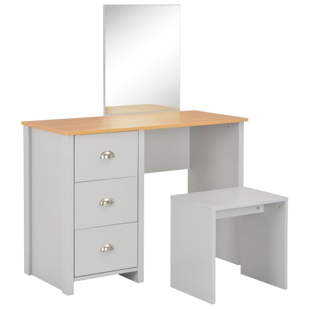 vidaXL Toaletný stolík so zrkadlom a stoličkou sivý 104x45x131 cm