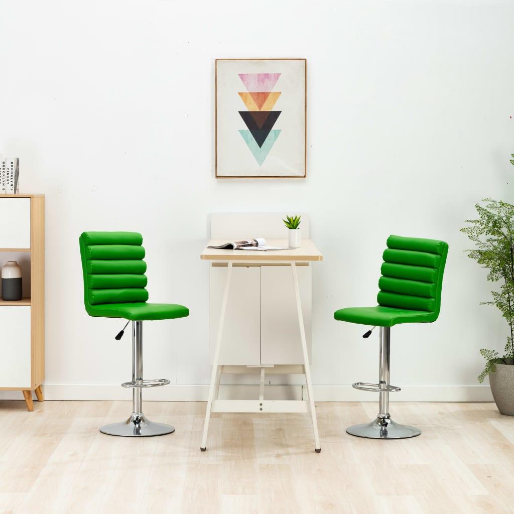 vidaXL Barová stolička zelená umelá koža