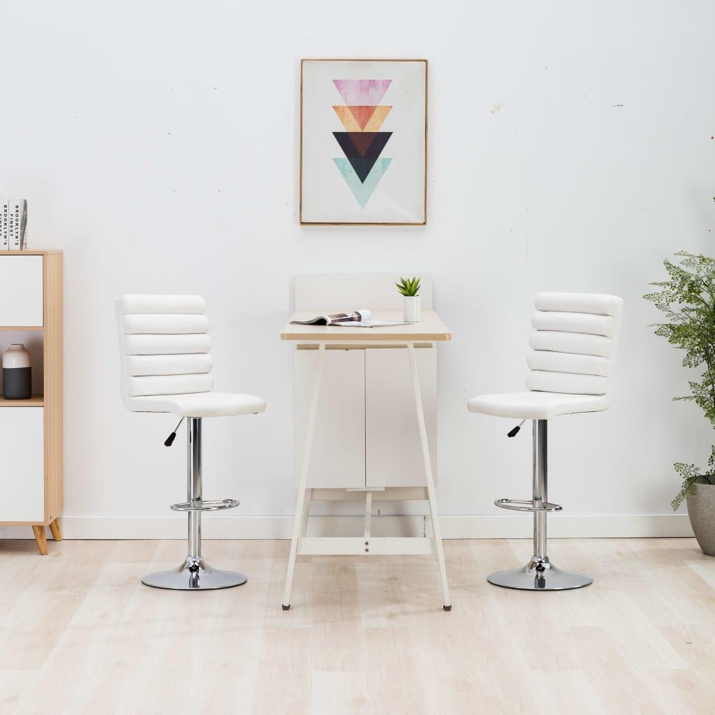 vidaXL Barové stoličky 2 ks biele umelá koža