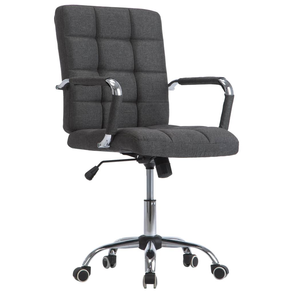 vidaXL Kancelárska stolička tmavosivá látková