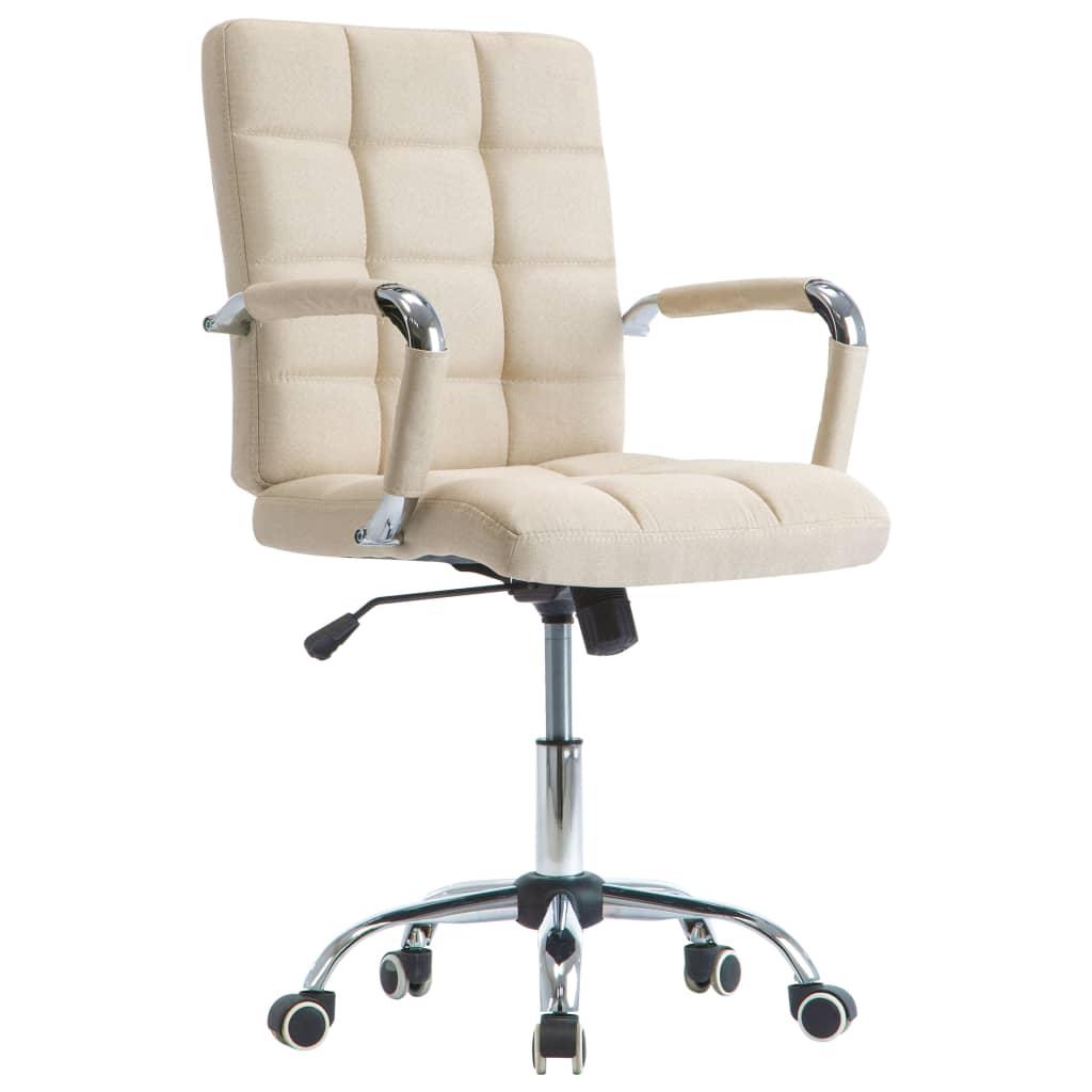 vidaXL Kancelárska stolička krémová látková