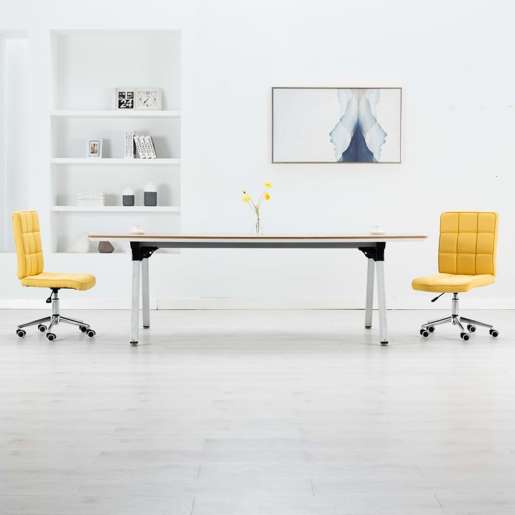 vidaXL Jedálenské stoličky 2 ks, žlté, látka